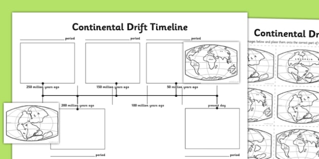 Continental Drift Timeline Activity Sheet - continental drift, timeline, activity, sheet, worksheet