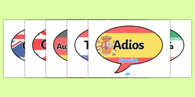 Mixed Language Goodbye Speech Bubble Signs - goodbye, speech