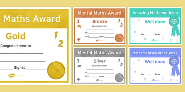 Maths Awards Resource Pack