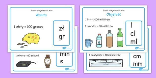 Plakaty na gazetkę Jednostki miary po polsku - matematyka - polish, measurement conversion, display, poster, sign, banner, measuring, measurement, convert, converting, kilometres, metres, centimetres, millimetres, kilograms, grams
