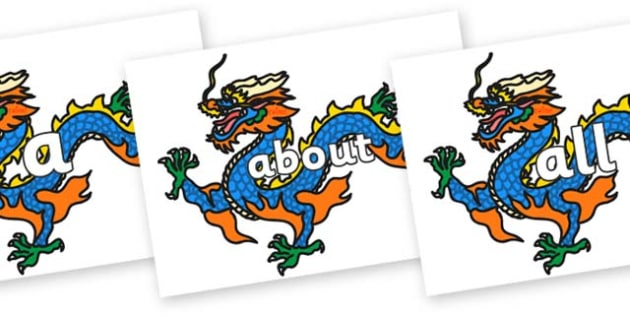 100 High Frequency Words on Chinese Dragons - High frequency words, hfw, DfES Letters and Sounds, Letters and Sounds, display words