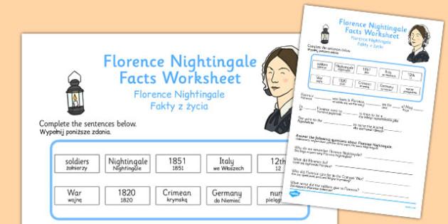 Florence Nightingale Fact Worksheets Polish Translation - polish, florence nightingale, fact, worksheets