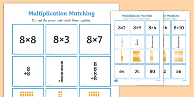 8 Times Table Multiplication Matching Puzzle - times table, multiplication, matching, puzzle, match, maths, numeracy, 8