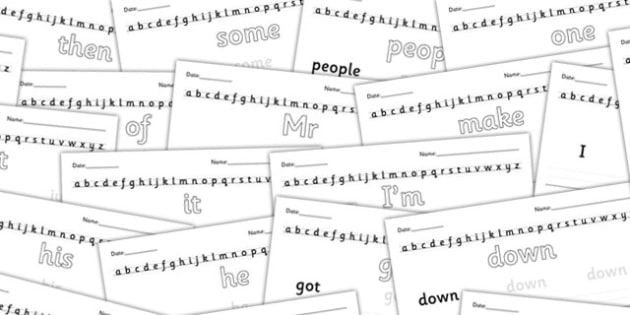 100 High Frequency Words Formation Practice Sheets - word form