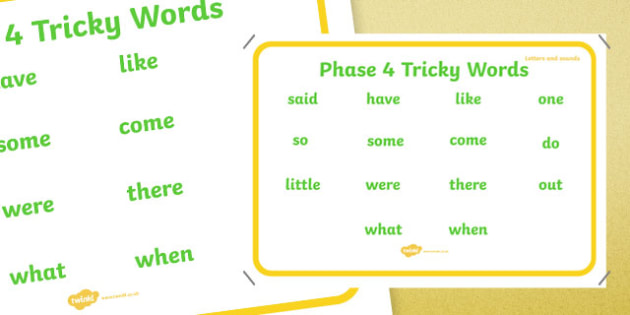 Phase 4 Tricky Words Wall Chart Large Display Poster - phase 4, tricky words, wall chart, display