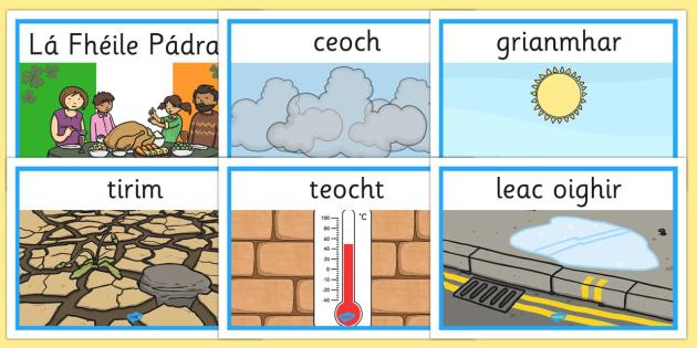 Weather Display Posters Gaeilge - gaeilge, weather, display posters, display, posters, aimsir