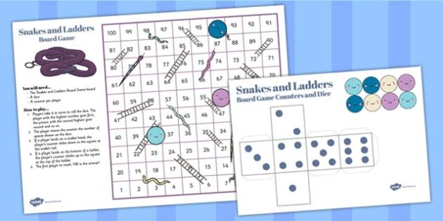 Snakes And Ladders Game (1-100) - snakes and ladders, 1-100, game, activity, numeracy, maths, calculation