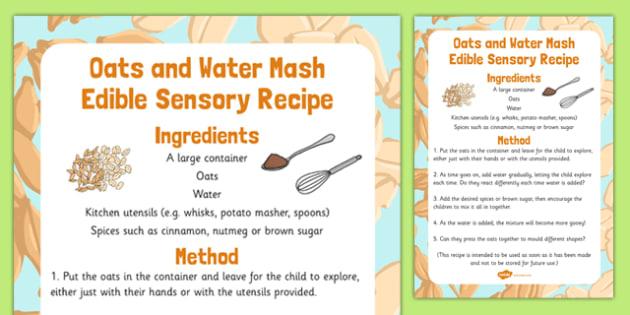 Oats and Water Mash Edible Sensory Recipe - oats, water, mash, edible, sensory, recipe