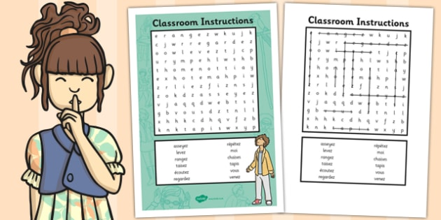 French Classroom Instructions Word Search - french, word search