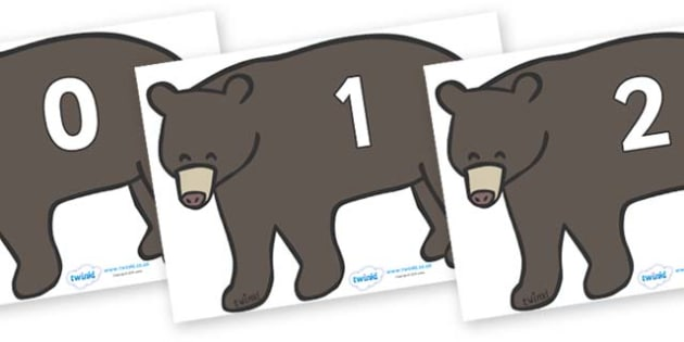 Numbers 0-50 on Grizzly Bears - 0-50, foundation stage numeracy, Number recognition, Number flashcards, counting, number frieze, Display numbers, number posters