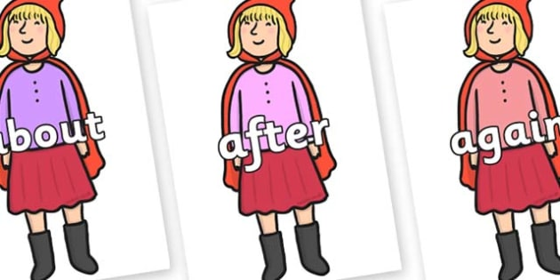 KS1 Keywords on Red Riding Hood to Support Teaching on The Jolly Christmas Postman - KS1, CLL, Communication language and literacy, Display, Key words, high frequency words, foundation stage literacy, DfES Letters and Sounds, Letters and Sounds, spel