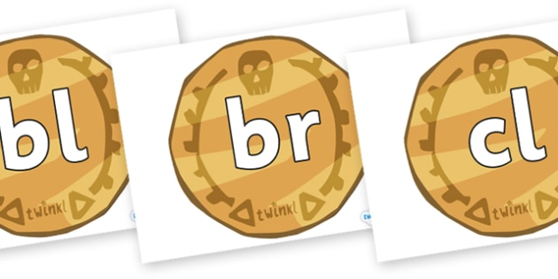 Initial Letter Blends on Pirate Coins - Initial Letters, initial letter, letter blend, letter blends, consonant, consonants, digraph, trigraph, literacy, alphabet, letters, foundation stage literacy