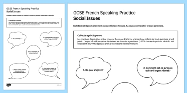 Collecte agri citoyenne Speaking Practice Activity Sheet - French, worksheet