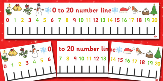Christmas Number Line Banner (0-20) - Christmas, xmas, Maths, Math, numberline, numberline display, tree, advent, nativity, santa, father christmas, Jesus, tree, stocking, present, activity, cracker, angel, snowman, advent , bauble, display, poster,