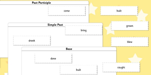 Irregular Verbs Base Simple Past and Past Participle Sorting Activity