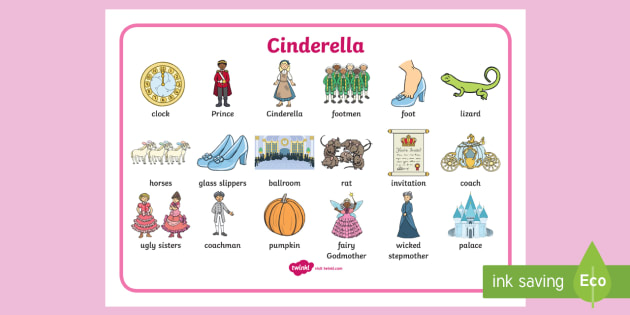 Cinderella Word Mat - Cinderella, word mat, writing aid, Traditional tales, tale, fairy tale, Pince Charming, Ugly Sisters, Step Godmother, Dress, Midnight, Carriage, mice, pumpkin