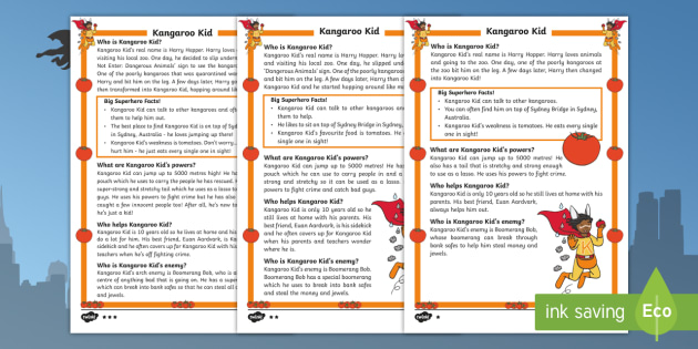 Kangaroo Kid: A Superhero Differentiated Fact File - Superheroes, Super Kangaroo kid, hero, save, villain, powers, sidekick, reading, facts, information,