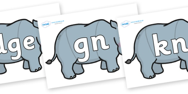 Silent Letters on Rhinos - Silent Letters, silent letter, letter blend, consonant, consonants, digraph, trigraph, A-Z letters, literacy, alphabet, letters, alternative sounds