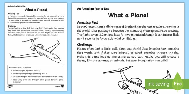 What a Plane! Activity Sheet - Amazing Fact Of The Day, activity sheets, powerpoint, starter, morning activity, December, aeroplane