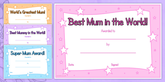 Mothers Day Certificate - awards, rewards, mothers day gift