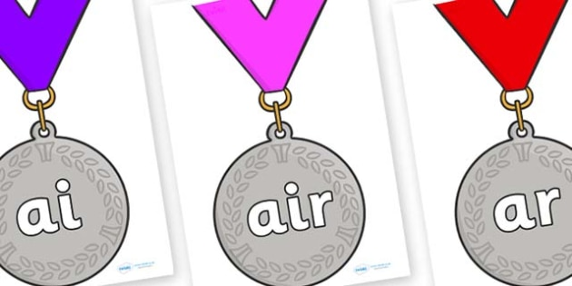 Phase 3 Phonemes on Silver Medals - Phonemes, phoneme, Phase 3, Phase three, Foundation, Literacy, Letters and Sounds, DfES, display