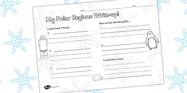 Polar Regions Write Up Activity Sheet - polar, worksheet, write