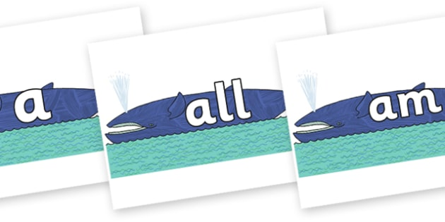 Foundation Stage 2 Keywords on Whale to Support Teaching on Sharing a Shell - FS2, CLL, keywords, Communication language and literacy,  Display, Key words, high frequency words, foundation stage literacy, DfES Letters and Sounds, Letters and Sounds,