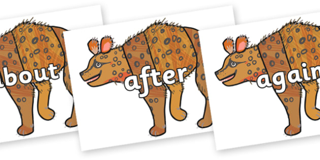 KS1 Keywords on Hyena to Support Teaching on The Bad Tempered Ladybird - KS1, CLL, Communication language and literacy, Display, Key words, high frequency words, foundation stage literacy, DfES Letters and Sounds, Letters and Sounds, spelling