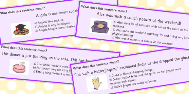 Food Idioms Sentences Multiple Choice Cards - food, idioms, choice