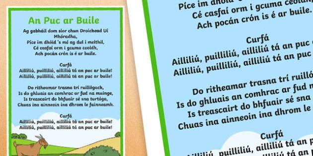 An Puc ar Buile Gaeilge Song Lyrics