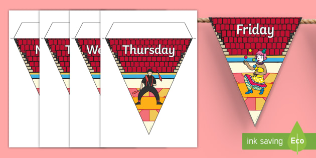 Circus Themed days of the Week Bunting - circus themed, days of the week, days of the week bunting, circus themed bunting, bunting