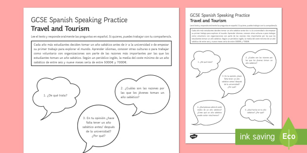 Planinng a Gap Year Speaking Practice Activity Sheets - Spanish Speaking Practice, travel, tourism, gap, year, practice, activity, sheet