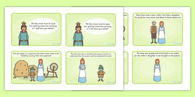 Rumpelstiltskin Story Sequencing (4 per A4) - Rumpelstiltskin, Brothers Grimm,  miller, miller's daughter, spinning wheel,sequencing, story sequencing, story resources, A4, cards,  forest, straw, gold, child, spinning, queen, woods, ring, greedy, pal