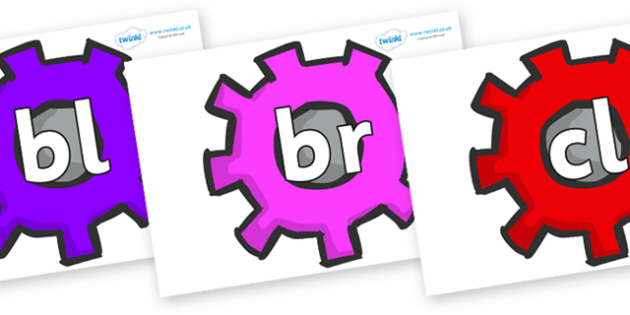 Initial Letter Blends on Cogs - Initial Letters, initial letter, letter blend, letter blends, consonant, consonants, digraph, trigraph, literacy, alphabet, letters, foundation stage literacy