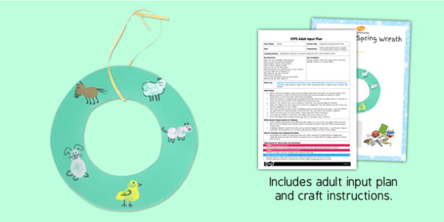 Fingerprint Spring Wreath Craft EYFS Adult Input Plan and Resource Pack - adult led