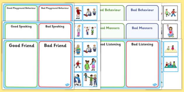 PSHE Behaviour Sorting Activities Resource Pack - pshe, sorting, activities, resource pack