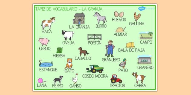 En la granja Tapices de vocabulario-Spanish
