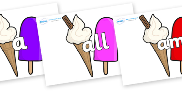 Foundation Stage 2 Keywords on Ice Cream and Lollies - FS2, CLL, keywords, Communication language and literacy,  Display, Key words, high frequency words, foundation stage literacy, DfES Letters and Sounds, Letters and Sounds, spelling