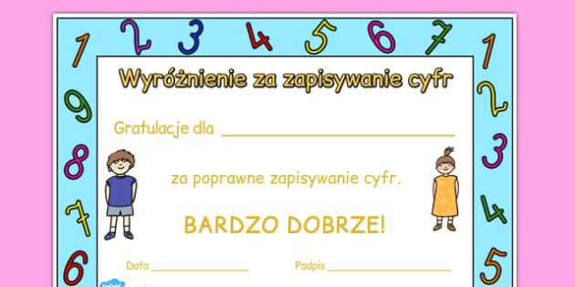 Certyfikat Pisanie Cyfr po polsku - matematyka, motywacja
