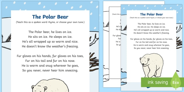 The Polar Bear Rhyme - winter, arctic, Antarctic, polar, polar bears, rhyme