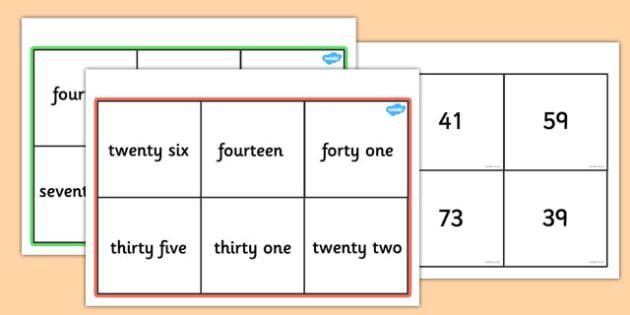 Number Words Bingo 0-100 - number words, bingo, 0-100, activity, game, class, number, words