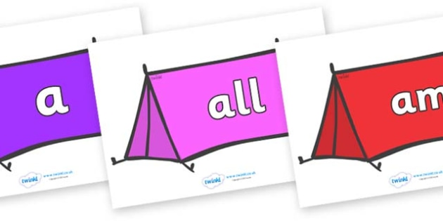 Foundation Stage 2 Keywords on Tents - FS2, CLL, keywords, Communication language and literacy,  Display, Key words, high frequency words, foundation stage literacy, DfES Letters and Sounds, Letters and Sounds, spelling