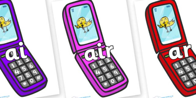 Phase 3 Phonemes on Mobile Phone - Phonemes, phoneme, Phase 3, Phase three, Foundation, Literacy, Letters and Sounds, DfES, display