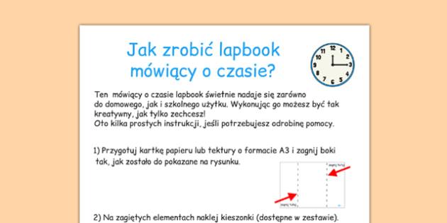 Lapbook Czas  Instrukcja wykonania po polsku - godzina - polish, lapbooks, instructions