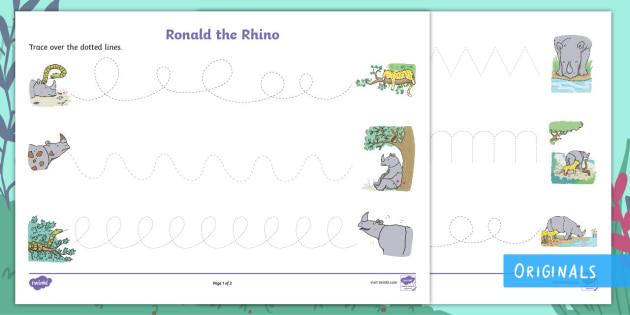 Ronald the Rhino Pencil Control Activity Sheets - Ronald the Rhino, rhyming, pattern, story, jungle, Africa, rhino,