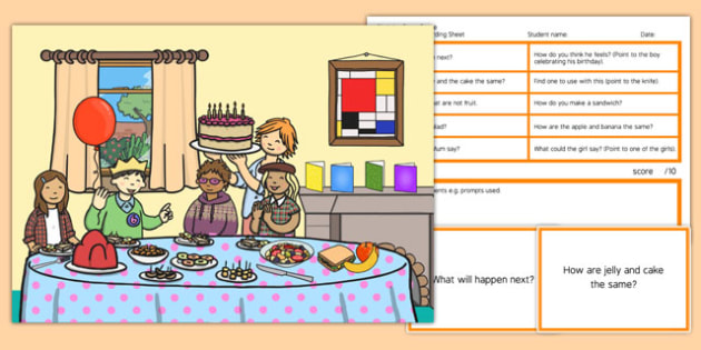 Birthday Party Scene Blanks Level 3 Questions - receptive language, expressive language, verbal reasoning, language delay, language disorder, comprehension, autism