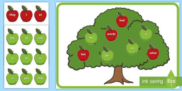Sight Word Apples Cut-Outs  - Sight word games, Australia, reading, English, display, Literacy