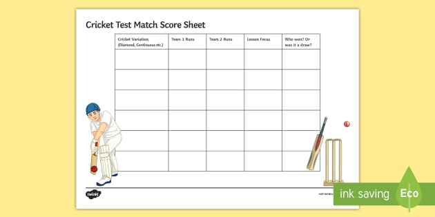 Cricket Mixed Test Match Score Sheet - Cricket, Test Match