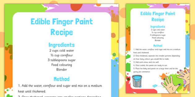 Finger Edible Paint Recipe - finger, edible, paint, recipe, eyfs