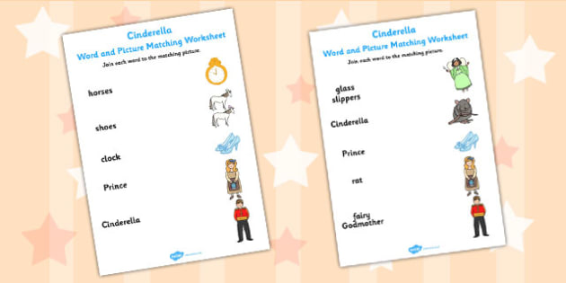 Cinderella Word and Picture Match - cinderella, word, picture